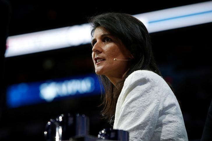U.S. Ambassador to the United Nations NIkki Haley speaks to the American Israel Public Affairs Committee (AIPAC) policy conference in Washington, U.S., March 27, 2017.      REUTERS/Joshua Roberts/Files