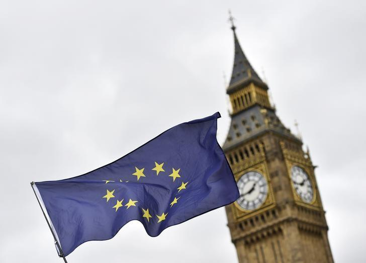 A protester waves a European Union flag outside Parliament after Britain's Prime Minister Theresa May triggered the process by which the United Kingdom will leave the European Union, in London, March 29, 2017. REUTERS/Hannah McKay