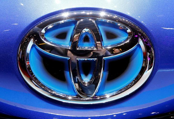The Toyota logo seen during the 87th International Motor Show at Palexpo in Geneva, Switzerland March 6, 2017. REUTERS/Arnd Wiegmann/File Photo