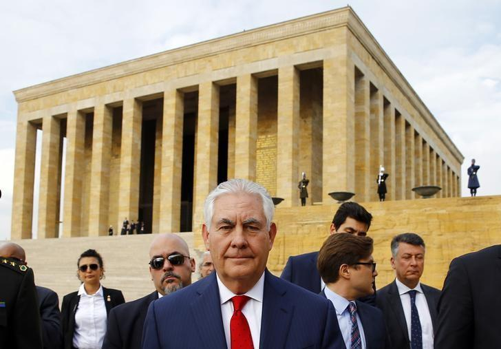 U.S. Secretary of State Rex Tillerson leaves after a wreath-laying ceremony at Anitkabir, the mausoleum of modern Turkey's founder Ataturk, in Ankara, Turkey, March 30, 2017. REUTERS/Umit Bektas