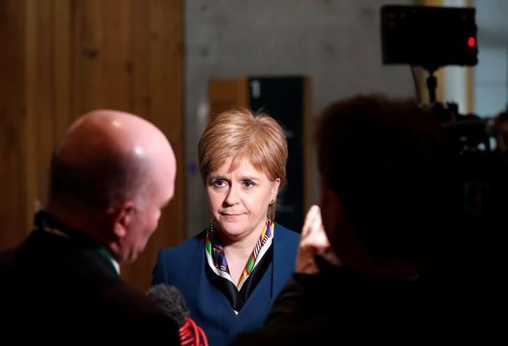 Scotland's First Minister Nicola Sturgeon gives a TV interview in Parliament in Edinburgh, Scotland, Britain March 29, 2017. REUTERS/Russell Cheyne