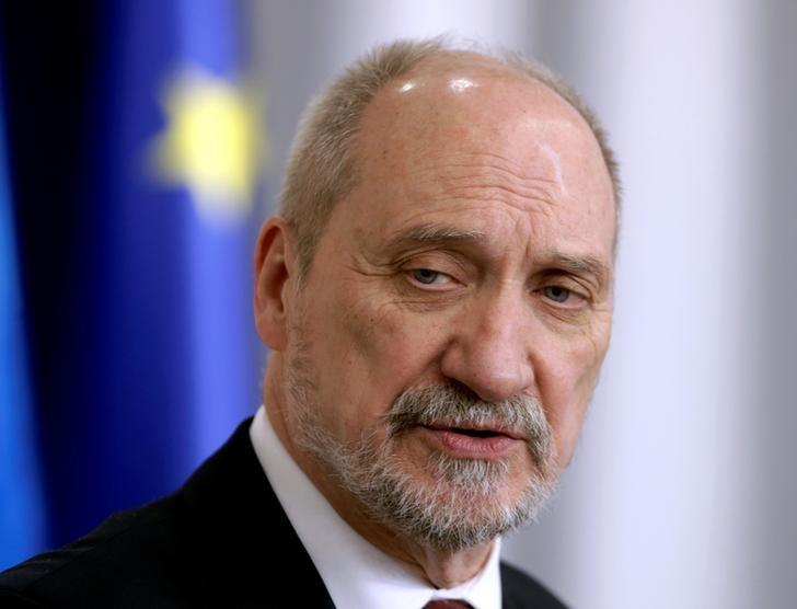 Poland's Defence Minister Antoni Macierewicz speaks during a news conference in Tallinn, Estonia, March 14, 2017. REUTERS/Ints Kalnins