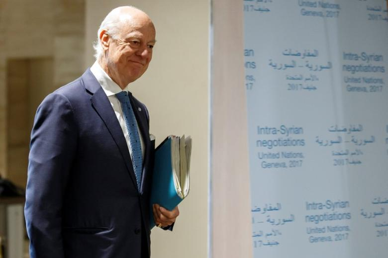 UN Special Envoy of the Secretary-General for Syria Staffan de Mistura, arrives for take part to a round of negotiation with Syria's main opposition High Negotiations Committee (HNC), during the Intra Syria talks, at the European headquarters of the United Nations in Geneva, Switzerland, March 31, 2017.REUTERS/Salvatore Di Nolfi/Pool