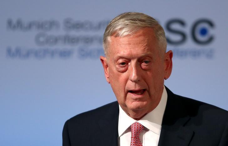U.S. Defense Secretary Jim Mattis speaks at the opening of the 53rd Munich Security Conference in Munich, Germany, February 17, 2017.  REUTERS/Michael Dalder/Files
