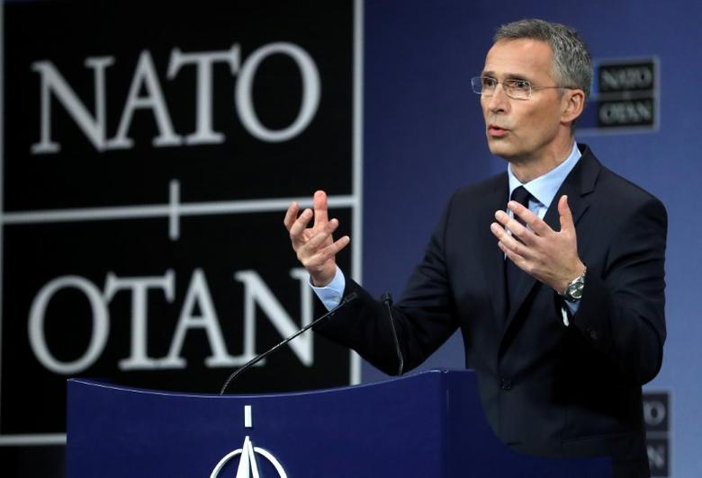 NATO Secretary General Jens Stoltenberg holds a news conference during a NATO foreign ministers meeting at the Alliance's headquarters in Brussels, Belgium March 31, 2017. REUTERS/Yves Herman