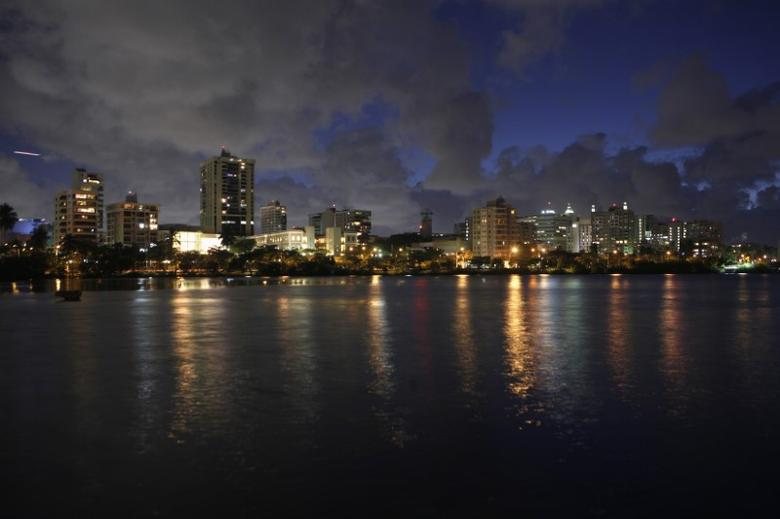 A night view of the middle-upper class residential sector of Miramar in San Juan, March 11, 2014. REUTERS/Ana Martinez