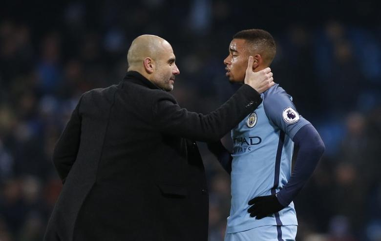 Manchester City v Tottenham Hotspur - Premier League - Etihad Stadium - 21/1/17 Manchester City manager Pep Guardiola with Manchester City's Gabriel Jesus after the match  Reuters / Andrew Yates Livepic