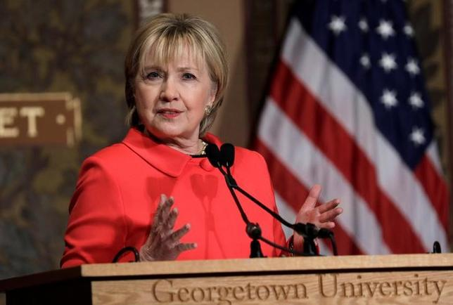 Former secretary of state Hillary Clinton speaks at an award ceremony honoring women and their role in international politics and peace building efforts hosted by the Georgetown Institute for Women, Peace and Security in Washington, U.S., March 31, 2017. REUTERS/Kevin Lamarque