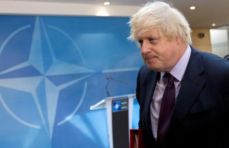 British Foreign Secretary Boris Johnson arrives for a meeting of NATO foreign ministers at NATO headquarters in Brussels, Belgium March 31, 2017.  REUTERS/Virginia Mayo/Pool