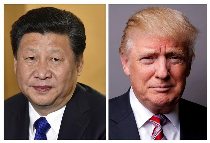 FILE PHOTOS: A combination of file photos showing Chinese President Xi Jinping (L) at London's Heathrow Airport, October 19, 2015 and U.S. President Donald Trump posing for a photo in New York City, U.S., May 17, 2016. REUTERS/Toby Melville/Lucas Jackson/File Photos