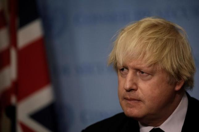 FILE PHOTO: British Foreign Secretary Boris Johnson speaks to reporters after chairing a United Nations Security Council meeting at U.N. headquarters in New York, U.S., March 23, 2017. REUTERS/Mike Segar