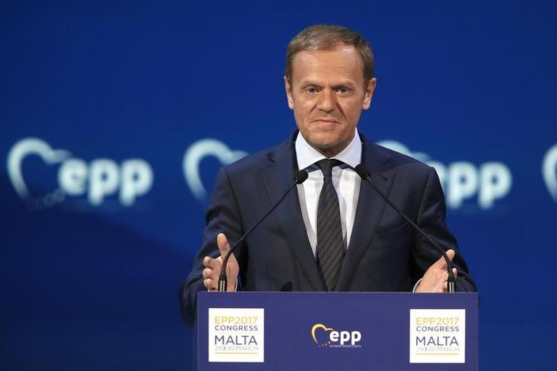 European Council President Donald Tusk takes part in a European People Party (EPP) summit in St Julian's, Malta, March 30, 2017. REUTERS/Darrin Zammit Lupi/File Photo