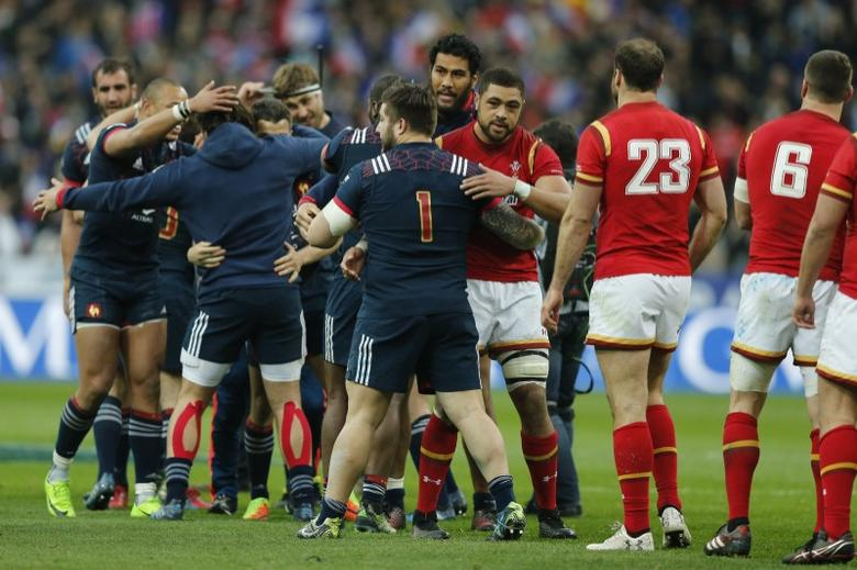 Rugby Union - Six Nations Championship - France v Wales - Stade de France, Saint-Denis near Paris, France - 18/03/2017 - France's players celebrate after winning. REUTERS/Benoit Tessier