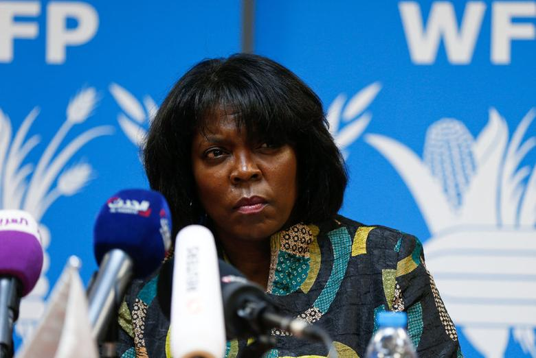 Ertharin Cousin, Executive Director of the United Nations World Food Programme, speaks during a news conference discussing the latest challenges the agency is facing in Yemen, in Amman, Jordan, March 13, 2017. REUTERS/Muhammad Hamed