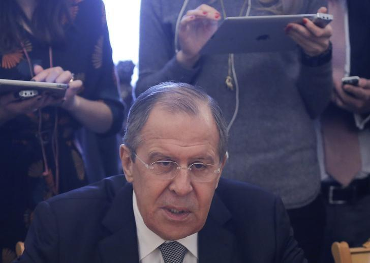 Russia's Foreign Minister Sergei Lavrov speaks during a meeting with United Nations' Special Envoy for Syria Staffan de Mistura in Moscow, Russia, March 22, 2017. REUTERS/Maxim Shemetov/Files