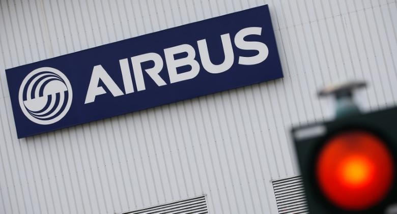 The logo of Airbus is pictured at the entrance of the Airbus facility in Bouguenais, near Nantes, France March 20, 2017. REUTERS/Stephane Mahe/Files