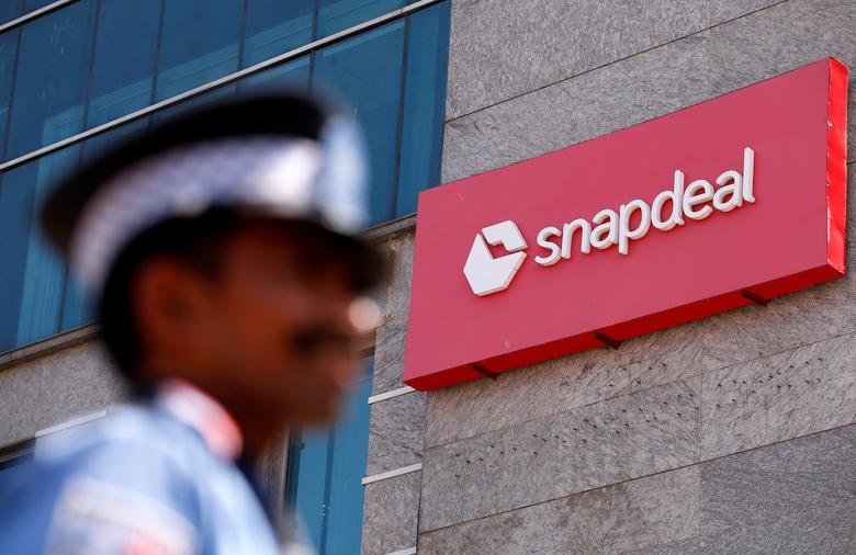 A private security gurad stands at a gate of Snapdeal headquarters in Gurugram on the outskirts of New Delhi, India, April 3, 2017.  REUTERS/Adnan Abidi