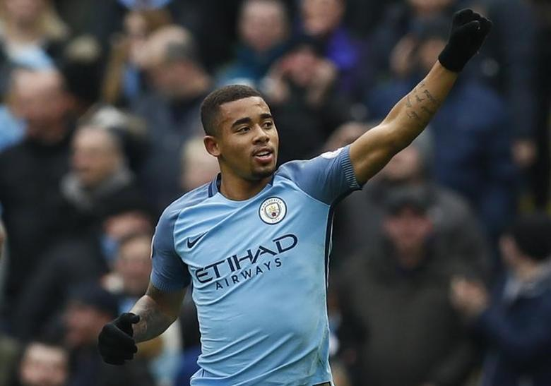 Britain Soccer Football - Manchester City v Swansea City - Premier League - Etihad Stadium - 5/2/17 Manchester City's Gabriel Jesus celebrates scoring their first goal  Action Images via Reuters / Jason Cairnduff Livepic