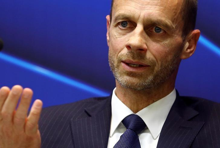 UEFA president Aleksander Ceferin speaks during a news conference in Stara Pazova, Serbia, March 31, 2017. REUTERS/Antonio Bronic