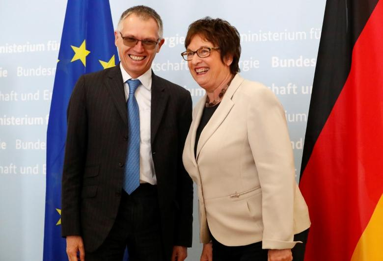 German Economy Minister Brigitte Zypries meets Chairman of the Managing Board of French carmaker PSA Group Carlos Tavares in Berlin, Germany, April 5, 2017.     REUTERS/Fabrizio Bensch