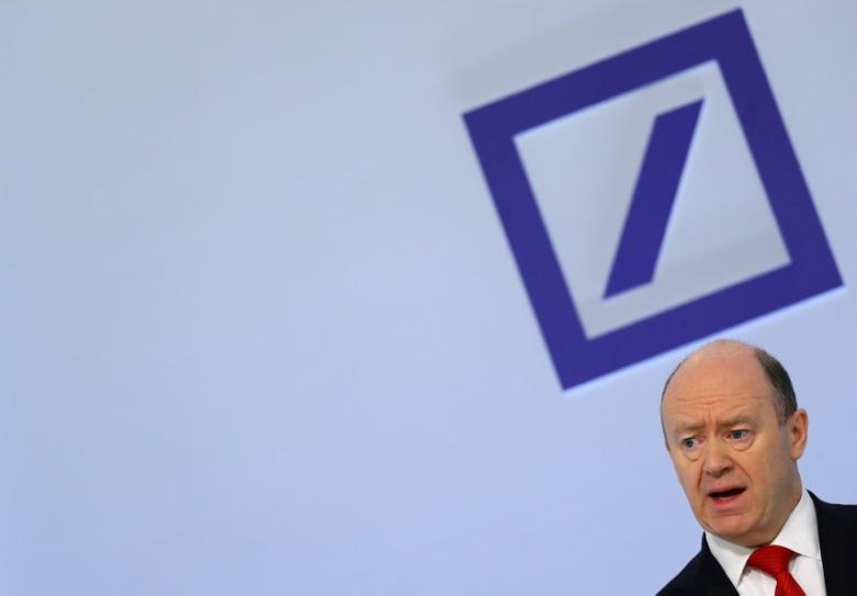 Deutsche Bank CEO John Cryan addresses the bank's annual news conference in Frankfurt, Germany, February 2, 2017.    REUTERS/Kai Pfaffenbach
