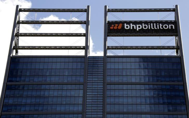 FILE PHOTO:  A sign adorns the building where mining company BHP Billiton has their office in Perth, Western Australia, November 19, 2015.   REUTERS/David Gray/File Photo