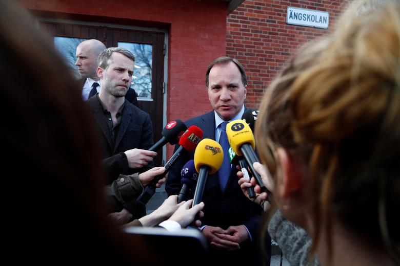 Swedish Prime Minister Stefan Lofven makes a statement after people were killed when a truck crashed into department store Ahlens on Drottninggatan, in central Stockholm, Sweden April 7, 2017. TT News Agency/Thomas Johansson/via REUTERS