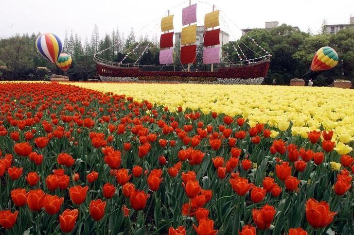 资料图片:2002年4月,上海长风公园国际花卉节一角。REUTERS/Claro Cortes IV