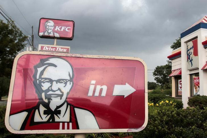 A Kentucky Fried Chicken (KFC) sign is pictured outside its restaurant in Paramus, New Jersey July 8, 2015.  REUTERS/Eduardo Munoz/File Photo
