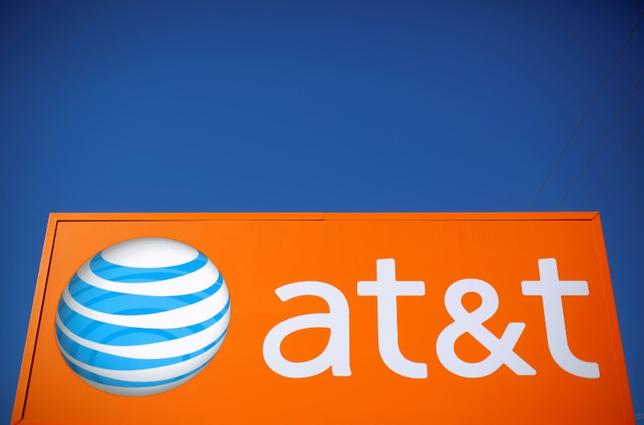 FILE PHOTO -- An AT&T sign is seen outside a branch in Rolling Meadows, Illinois, U.S., October 24, 2016.    REUTERS/Jim Young/File Photo