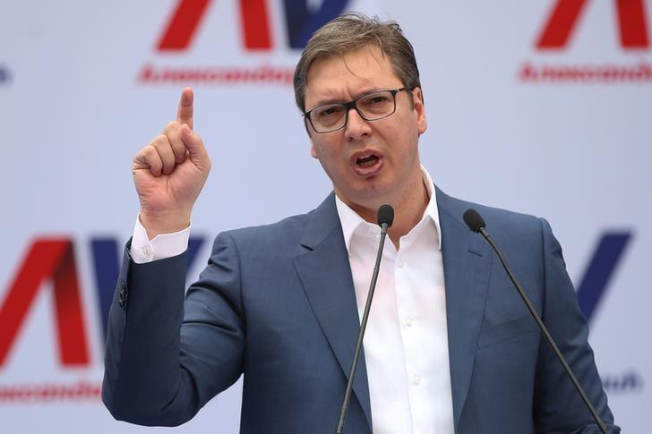 Serbian Prime Minister and President-elect Aleksandar Vucic speaks during his rally in Novi Sad, Serbia, March 18, 2017. Picture taken March 18, 2017. REUTERS/Marko Djurica/File Photo
