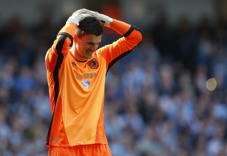 Britain Football Soccer - Manchester City v Hull City - Premier League - Etihad Stadium - 8/4/17 Hull City's Eldin Jakupovic looks dejected  Action Images via Reuters / Ed Sykes
