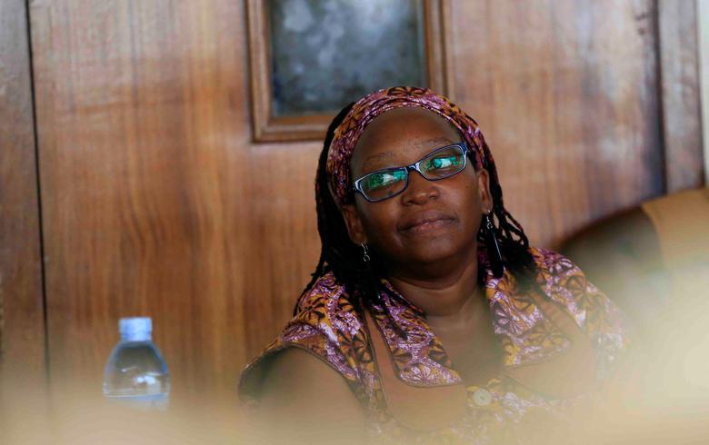 Ugandan prominent academic Stella Nyanzi stands in the dock at Buganda Road court for criticising the wife of President Yoweri Museveni on social media, in Kampala, Uganda April 10, 2017. REUTERS/James Akena