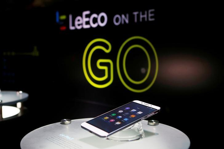 FILE PHOTO: LeEco's Le Pro3 phone is on display during a press event in San Francisco, California, U.S. October 19, 2016.  RETUERS/Beck Diefenbach/File Photo