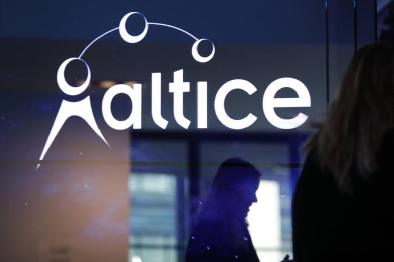 The logo of cable and mobile telecoms company Altice Group is seen during a news conference in Paris, France, March 21, 2017. REUTERS/Philippe Wojazer