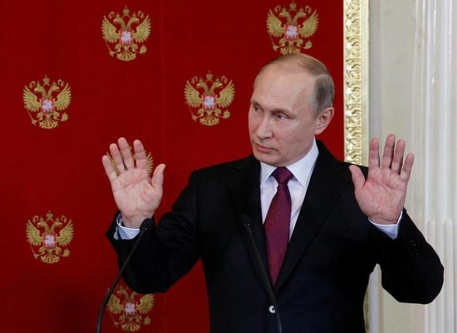 4月11日、ロシアのプーチン大統領は、米国がシリア空爆準備との情報があると明らかにした。写真はモスクワで同日代表撮影(2017年 ロイター)