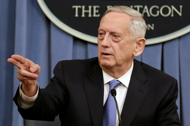 U.S. Defense Secretary James Mattis gestures to the media at the Pentagon in Washington, U.S., April 11, 2017. REUTERS/Yuri Gripas