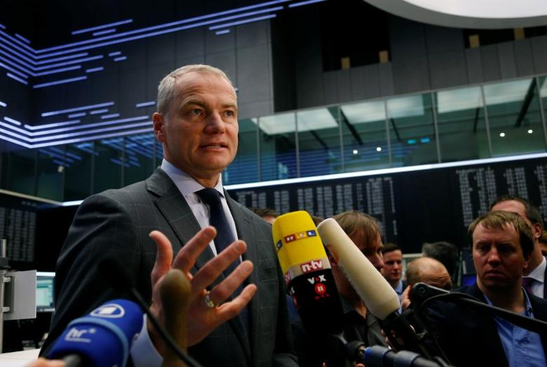 Carsten Kengeter, CEO of Deutsche Boerse attends the initial public offering of Scale at the Frankfurt stock exchange in Frankfurt, Germany March 1, 2017.  REUTERS/Ralph Orlowski