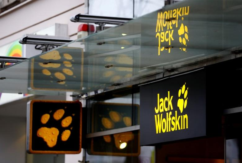 Company logos are pictured outside a store of German outdoor sport goods company Jack Wolfskin in Vienna, Austria, April 27, 2016.  REUTERS/Leonhard Foeger