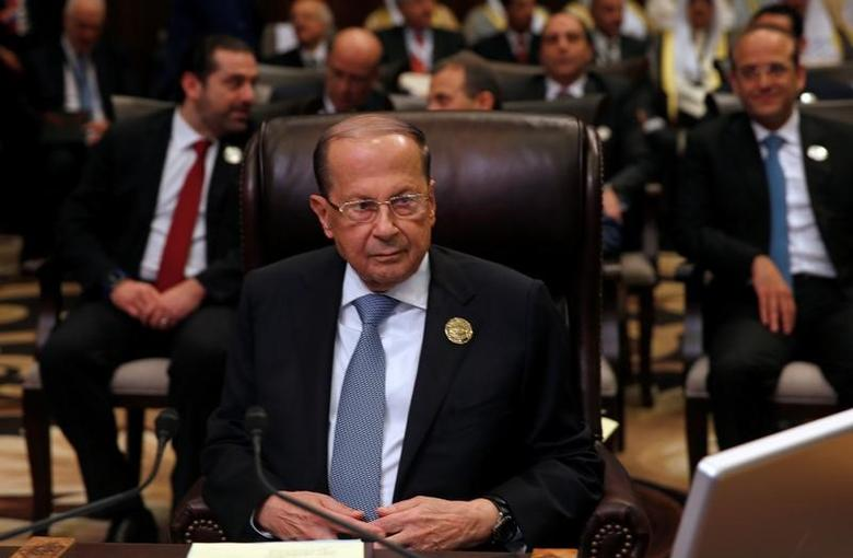 Lebanon's President Michel Aoun attends the 28th Ordinary Summit of the Arab League at the Dead Sea, Jordan March 29, 2017. REUTERS/Mohammad Hamed/Files
