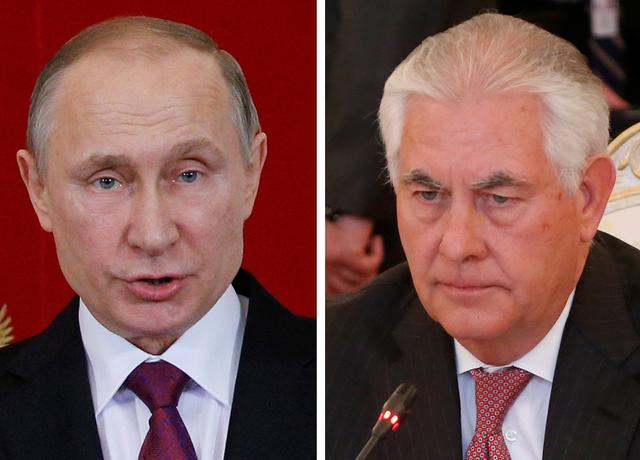 Combination photo of U.S. Secretary of State Rex Tillerson (R) and Russian President Vladimir Putin. REUTERS/Maxim Shemetov
