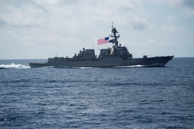 The Arleigh Burke-class guided-missile destroyer USS Wayne E. Meyer (DDG 108) transits the South China Sea, April 11, 2017. The destroyer is on a scheduled western Pacific deployment with the Carl Vinson Carrier Strike Group as part of the U.S. Pacific Fleet-led initiative to extend the command and control functions of U.S. 3rd Fleet.  Picture taken April 11, 2017. U.S. Navy photo by Mass Communication Specialist 3rd Class Danny Kelley/Handout via REUTERS ATTENTION EDITORS - THIS IMAGE WAS PROVIDED BY A THIRD PARTY. EDITORIAL USE ONLY.       TPX IMAGES OF THE DAY
