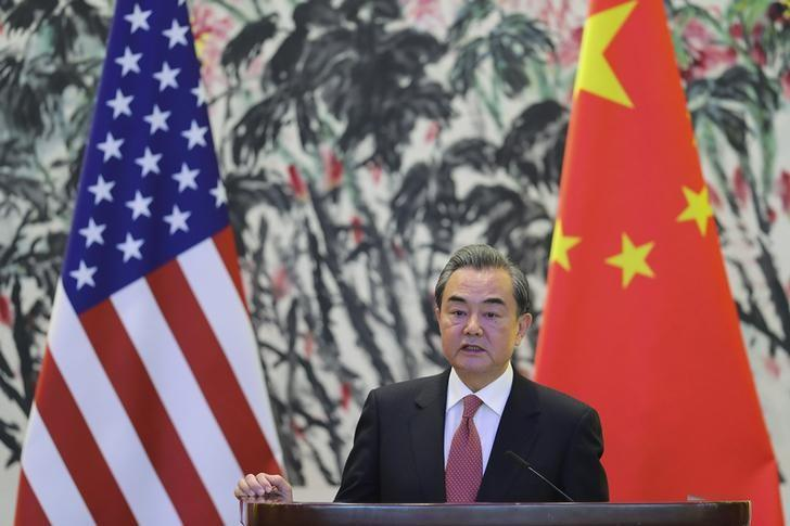 Chinese Foreign Minister Wang Yi speaks during a joint news conference with U.S. Secretary of State Rex Tillerson at Diaoyutai State Guesthouse in Beijing, March 18, 2017. REUTERS/Lintao Zhang/Pool