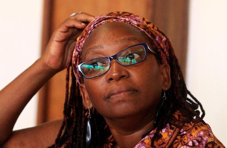 Ugandan prominent academic Stella Nyanzi stands in the dock at Buganda Road Court for criticising the wife of President Yoweri Museveni on social media, in Kampala, Uganda April 10, 2017. REUTERS/James Akena