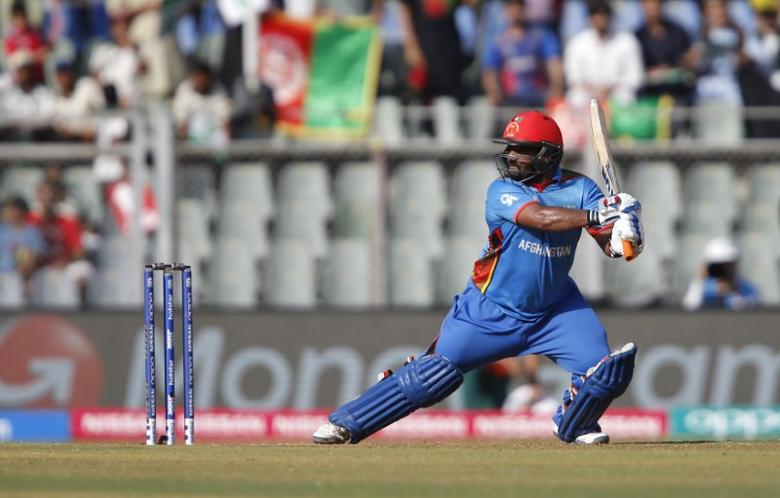 FILE PHOTO - Cricket - South Africa v Afghanistan - World Twenty20 cricket tournament - Mumbai, India, 20/03/2016. Afghanistan's Mohammad Shahzad plays a shot.  REUTERS/Danish Siddiqui