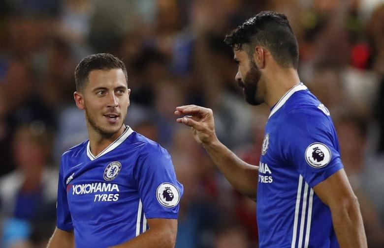 Britain Football Soccer - Chelsea v West Ham United - Premier League - Stamford Bridge - 15/8/16. Chelsea's Eden Hazard celebrates scoring their first goal with Diego Costa. Reuters / Eddie Keogh. Livepic