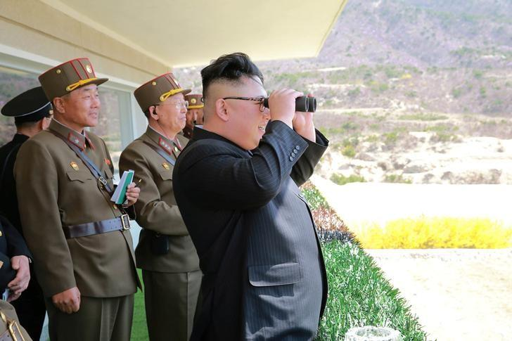North Korean Leader Kim Jong Un observes a target-striking contest by the Korean People's Army (KPA) in this undated photo, released by North Korea's Korean Central News Agency (KCNA), April 13, 2017. REUTERS/KCNA