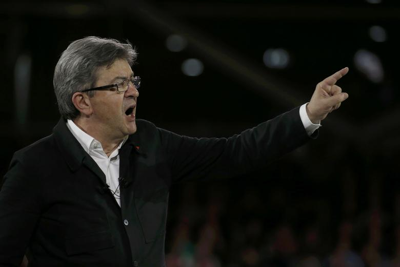 Jean-Luc Melenchon of the French far left Parti de Gauche and candidate for the 2017 French presidential election, attends a political rally in Lille, France, April 12, 2017.   REUTERS/Pascal Rossignol