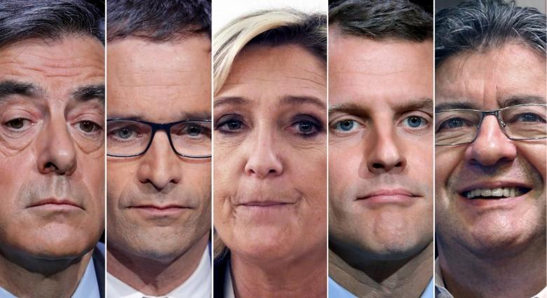 A combination picture shows five candidates for the French 2017 presidential election, from L-R, Francois Fillon, the Republicans political party candidate, Benoit Hamon, French Socialist party candidate, Marine Le Pen, French National Front (FN) political party leader, Emmanuel Macron, head of the political movement En Marche ! (Onwards !), Jean-Luc Melenchon, candidate of the French far-left Parti de Gauche, in Paris, France.  REUTERS/Charles Platiau/File Photos