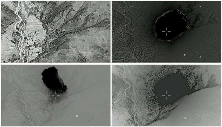 A combination of still images taken from a video released by the U.S. Department of Defense on April 14, 2017 shows (clockwise) the explosion of a MOAB, or ''mother of all bombs'', when it struck the Achin district of the eastern province of Nangarhar, Afghanistan, bordering Pakistan where U.S. officials said a network of tunnels and caves was being used by militants linked to Islamic State. U.S. Department of Defense/Handout via REUTERS